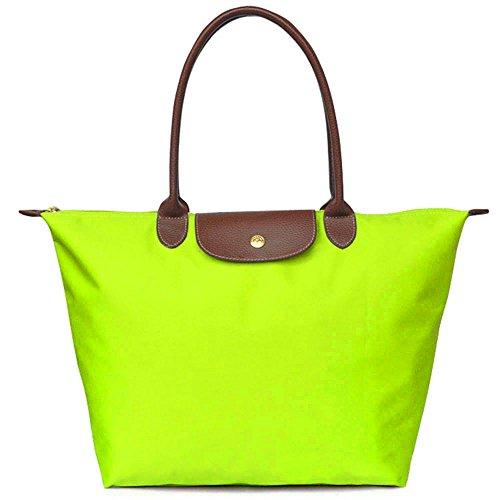 Waterproof Shoulder Tote Stylish Women's Bag Lime Green Bags BEKILOLE Travel Beach Nylon 0EqpW