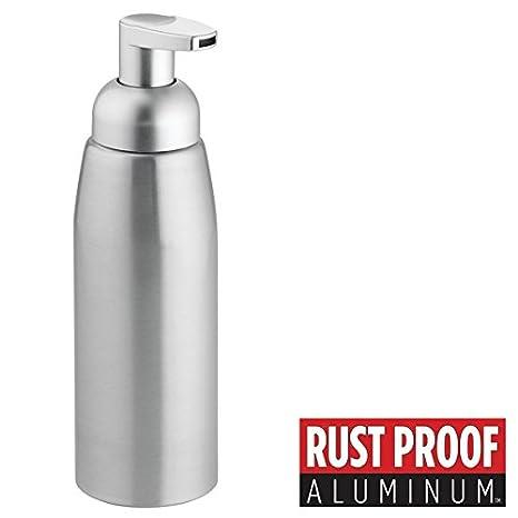 mDesign Dispensador de jabon recargable - Dosificador de espuma en aluminio con válvula dosificadora - Dispensador de gel con capacidad de 414 ml ...