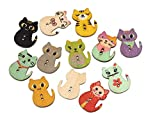 Yingealy Beautiful and Practical Mixed Random Cat Shape Wooden Button Vintage Buttons DIY Handmade Wood Chips