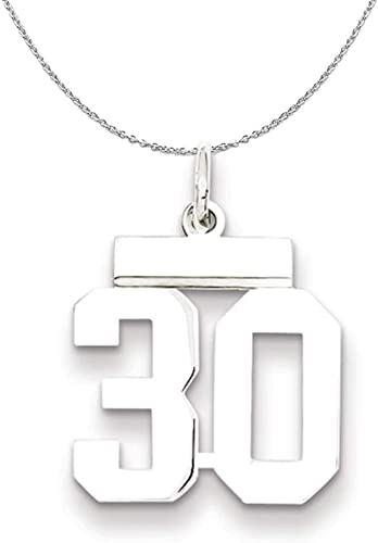 Rhodium Plated Sterling Silver Athletic Collection Medium Polished Number 1 Pendant