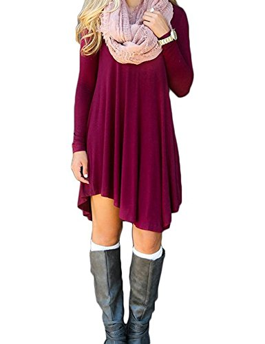 Women's T Shirt Dress Casual Loose Tunic Long Sleeve V-neck Frock by Azot (S, Wine red)