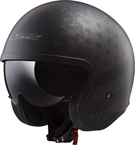 Lightest Full Face Helmet - LS2 Helmets Spitfire Bobber Vintage style Open Face Helmet with sun shield (Matte Black Flag, Medium)