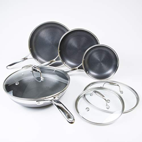 Hexclad Hybrid Nonstick Cookware 7 Piece Set with Lids and Wok, Metal Utensil Safe, Induction Ready