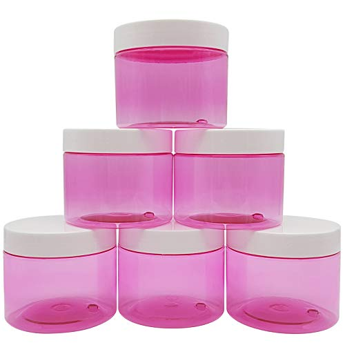 Original Stationery Slime Containers with Lids 6 Ounce [Perfect Slime CONTAINERS No BPAs Safe for Kids] Small Plastic Storage Jars Screw Top, [for Any Slime Maker] (Clear Pink)