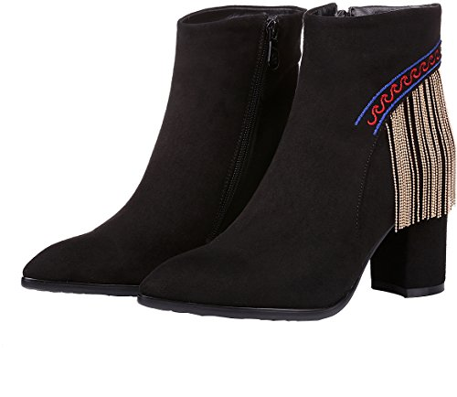 Arraysa Women Abaaq 8CM Zipper Block Heel Boots Black CDGVxmNJfO