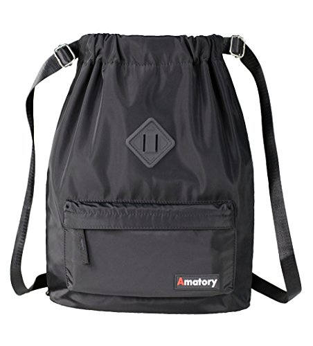 Drawstring Backpack Bag String Sackpack Gymsack Waterproof Sports Gym Cinch Sack (Black) (Drawstring Backpack Sack)
