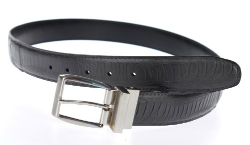 Stacy Adams 6-188 Croco and Ostrich Leg Embossed Leather Mens Belt, Nickel Brushed Buckle (36, Grey) (Buckle Belt Adam)