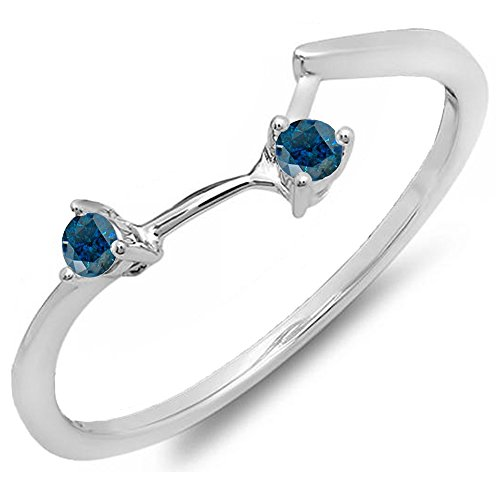 010-Carat-ctw-14K-Gold-Round-Blue-Diamond-Ladies-Anniversary-Wedding-Band-110-CT
