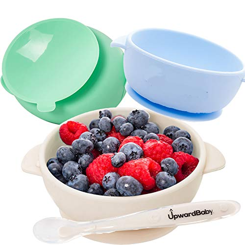 Baby Bowls with Guaranteed Suction - 4 Piece Silicone Set with Spoon - UpwardBaby - for Babies Kids Toddlers - BPA Free - First Stage Self Feeding