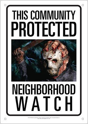 Aquarius Friday The 13th Jason Neighborhood Watch Tin Sign ()
