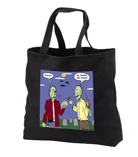 Rich Diesslins Funny General Cartoons - Halloween - Zombie Vegans - Tote Bags - Black Tote Bag 14w x 14h x 3d -