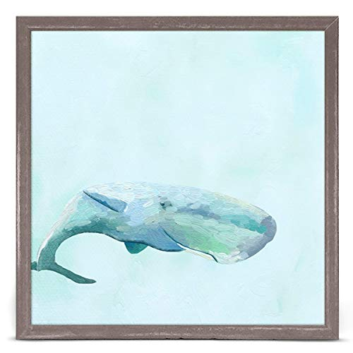 (GreenBox Art + Culture Swimming Whale by Cathy Walters 6 x 6 Mini Framed Canvas, Rustic Natural)