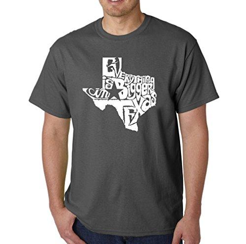 LA POP ART Men's Word Art T-Shirt - Everything is Bigger in Texas Dark ()