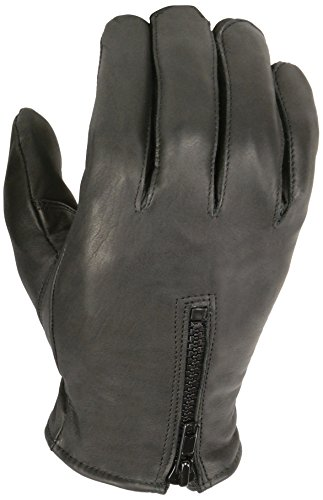 Milwaukee Leather Men's Thermal Lined Premium Leather Driving Gloves With Zipper (Black, Large)