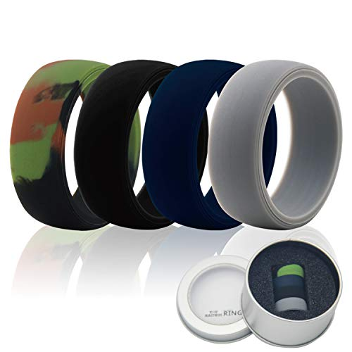 Cheap Tuhaoge Silicone Wedding Ring Band Silicone Ring 4 Pieces, Black, Gray, Dark Blue, Camouflage+Gift Box Packaging, Optional Suitable Size (9)