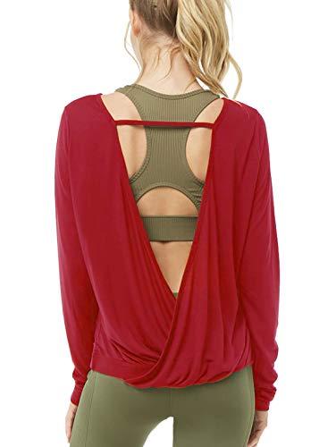 Muzniuer Women's Backless Long Sleeve Yoga T Shirt Casual Open Back Cross Blouse Tops Thumbhole Shirts Long Sleeve Workout Top Summer Top WineRed L