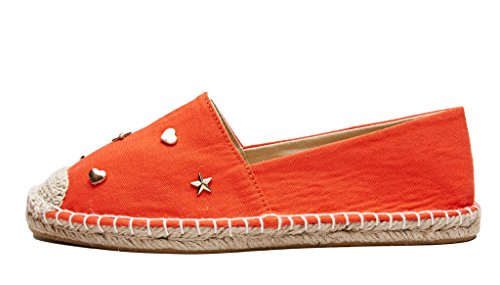 Slip Decoration rivet Women Espadrilles lite Loafer Shoes U On Orange XaRwAW