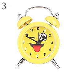 Braceus Lovely Emoji Face Mini Round Metal Alarm Clock Desk Stand Home Room Kitchen Office (3#)