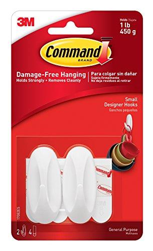 051131769090 - Command Designer Hooks, Small, White, 2-Hooks and 4 Strips (17082ES) carousel main 0