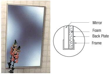 """CRL Stainless Steel 18-1//4/"""" x 24-1//4/"""" Standard Channel Theft-Proof Framed Mirror"""