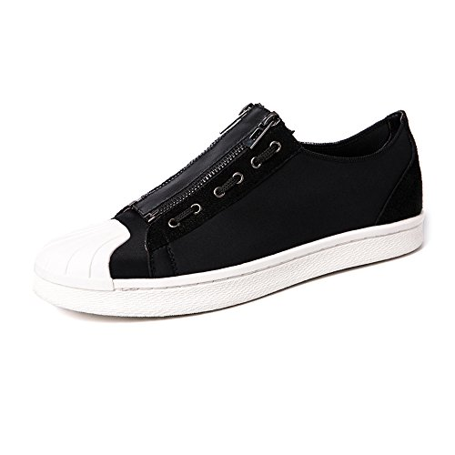 Dual Sport Canvas (Men's Flat Sport Shoes Casual Dual Zipper PU Leather Upper Closed Loafers Rubber Sole Canvas Sneakers (Color : Black, Size : 7 MUS))