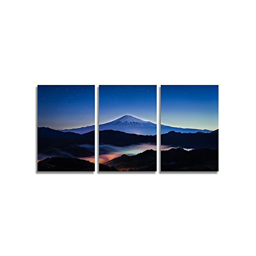 CrmArt 3 Panels The Sacred Mount Fuji Among Clouds Lit up by Lights Below Landscape Modern Giclee Canvas Prints Wall Art Stretched and Framed Artwork for Home Decorations Ready to Hang (16x24inx3pcs)