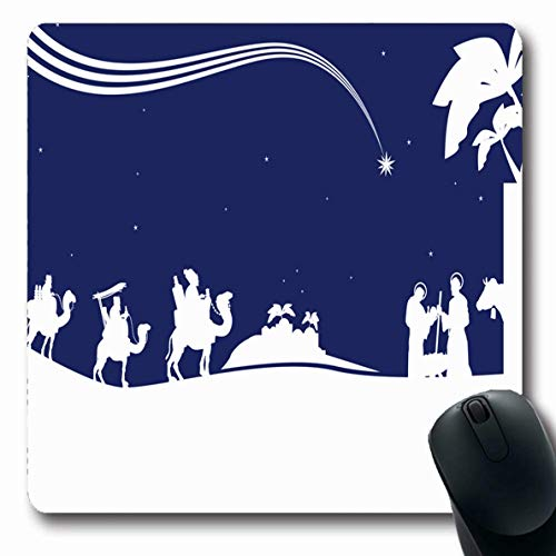 Ahawoso Mousepad for Computer Notebook Baby Blue Christmas Nativity Scene Three Wise Child Holidays Wisemen Kings Jesus Joseph Christ Design Oblong Shape 7.9 x 9.5 Inches Non-Slip Gaming Mouse Pad