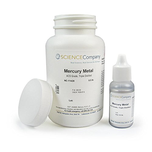 Mercury Metal (quicksilver), 3X Distilled, 1/2lb