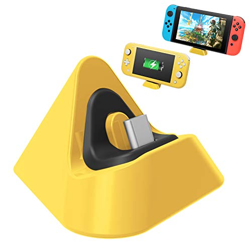 Portable Charging Dock for Nintendo Switch Lite and Nintendo Switch, Stable Support Stand Charging Station for Switch Lite with Type C Input Port (Yellow)