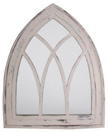 Esschert Design USA WD10 Mirror Gothic, White Wash Finish