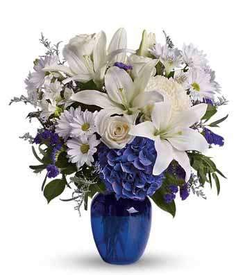 Peaceful Blue - Same Day Sympathy Flowers Delivery - Sympathy Flower - Sympathy Gifts - Send Online Sympathy Plants & Flowers by The Shopstation (Image #1)