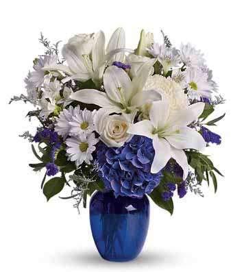 Peaceful Blue - Same Day Sympathy Flowers Delivery - Sympathy Flower - Sympathy Gifts - Send Online Sympathy Plants & Flowers