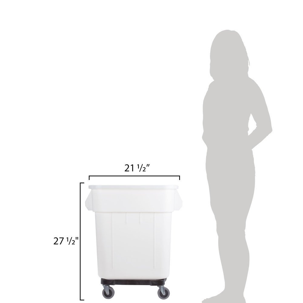 TableTop King 32 Gallon White Mobile Ingredient Storage Bin with Lid