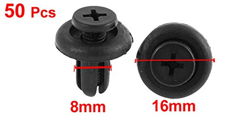 uxcell 50 Pcs Black Plastic Screw Rivet Push-Type Trim Panel Retainer Clips a15110400ux0130