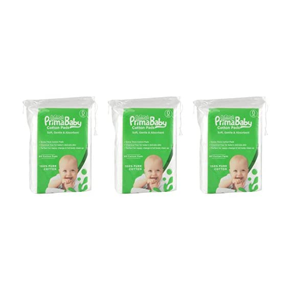 PrimaBaby Cotton Squares, Soft and Gentle, Chemical Free, 60 Pcs - Combo Pack of 3