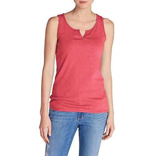 Stretch Rib Knit Tank (Eddie Bauer Women's Favorite Notched-Neck Tank Top, Pink Htr M)