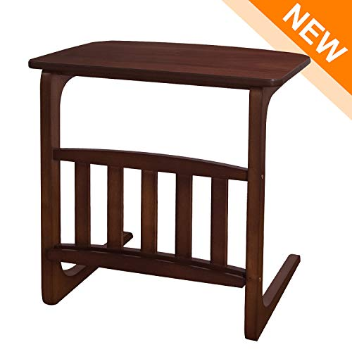 LCH Vintage Snack Side Table, Solid Wood End Table for Coffee Laptop, Slides Next to Sofa Couch, Dark Brown Review