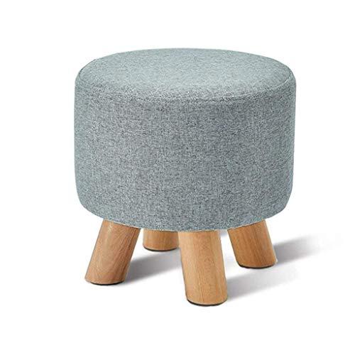 ZLZDZ Stool Footstool Wooden Shoe Bench Round Fabric for Makeup Living Room Corridor ()