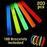 Glow Sticks Bulk Wholesale, 100 4' Glow Stick Light Sticks+100 Free Glow Bracelets! Assorted Bright Colors, Kids Love Them! Glow 8-12 Hrs, 2-Year Shelf Life, Sturdy Packaging, GlowWithUs Brand