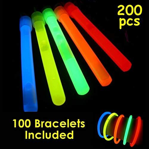 """Glow Sticks Bulk Wholesale, 100 4"""" Glow Stick Light Sticks+100 Free Glow Bracelets! Assorted Bright Colors, Kids Love Them! Glow 8-12 Hrs, 2-Year Shelf Life, Sturdy Packaging, GlowWithUs Brand ()"""