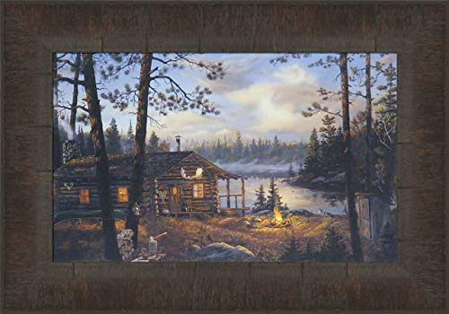 Wilderness Echoes by Terry Doughty 11x15 Log Cabin Lake Campfire Framed Art Print Wall Décor Picture