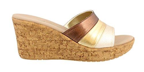 Onex Keilabsatz Frauen Leather Balero Offener Combo Sandalen Zeh Gold Mit Bronze Leger qxFRqrwn1