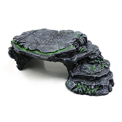 uxcell Resin Turtle Climb Ramp Hiding Spot Ornament Aquarium Landscape Decor Black