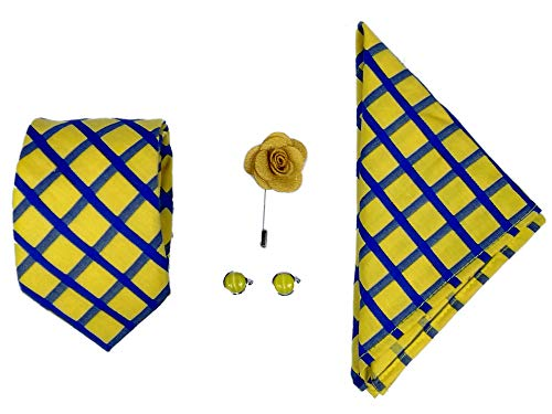 Blacksmith Men's Combo of Necktie, Pocket Square Lapel Pin and Cufflinks(Yellow, Free Size)