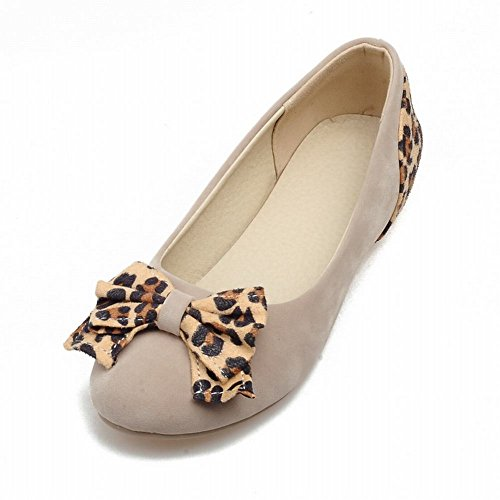 Carolbar Moda Donna Modello Leopardo Archi Casual Assortiti Colori Tallone Mocassino Beige