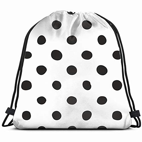 Tile Black Polka Abstract Dot Drawstring Backpack Bag For Kids Boys Girls Teens Birthday, Gift String Bag Gym Cinch Sack For School And Party]()