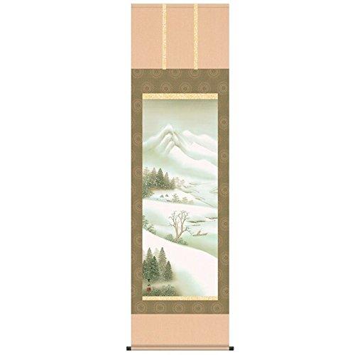 [掛軸][深雪悠景]緒方葉水[尺五][山水画の掛軸][b4-14d]四季山水冬   B01FCV5TD4