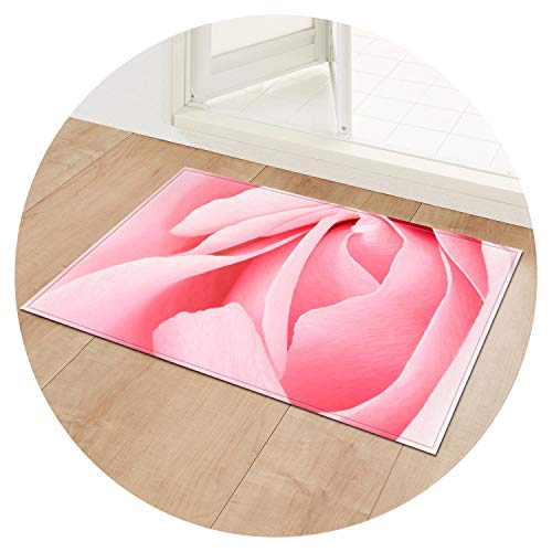 Entrance Mats Non-Slip Table Chair Area Rug Home Bathroom Kitchen Rug Flower Print Doormat Floor Mat Bedroom Carpet,Rose 05,60x180cm