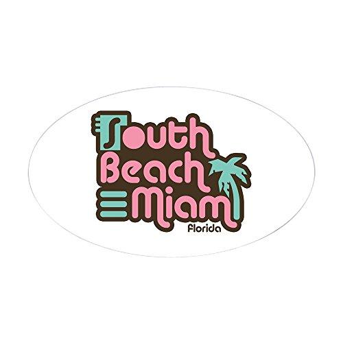 CafePress South Beach Miami Florida Oval Bumper Sticker, Euro Oval Car Decal