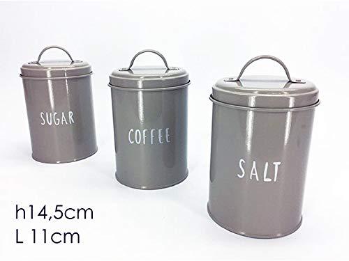 GENERAL TRADE Barattolo in latta per sale zucchero o caffe colori bianco o tortora 11xH14, 5 cm